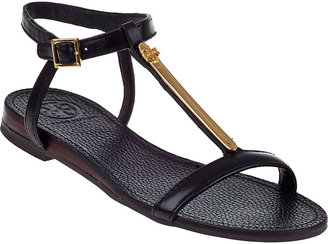 Tory Burch Pacey Flat Sandal Black Leather