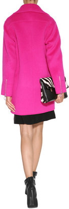 Moschino Cheap & Chic Moschino Cheap and Chic Alpaca-Wool Blend Biker-Style Coat in Fuchsia