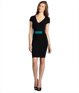 French Connection black and aqua back zip stretch knit 'Dani' dress