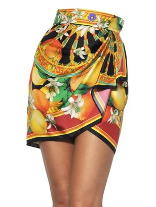 Dolce & Gabbana Printed Silk Twill Mini Skirt