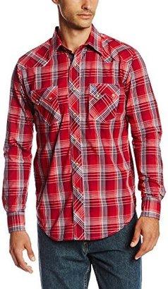 Wrangler Men's Western Jean Red Blue Shirt