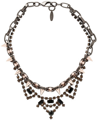 JOOMI LIM Crystal and Spike Necklace in Hematite & Rose Gold