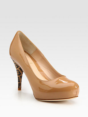 Fendi FF Superstar Patent Leather Logo Platform Pumps