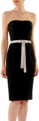 Dolce & Gabbana BLK CADY STRAPLESS DRESS WIT