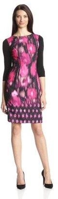 Elie Tahari Women's Angie Boder Blur Three-Quarter Sleeve Printed Dress