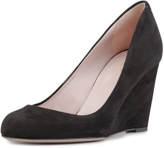 Gucci Suede Wedge Pump, Black