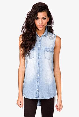 Forever 21 Studded Sleeveless Denim Shirt