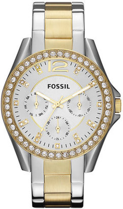 Women's Fossil 'Riley' Round Crystal Bezel Bracelet Watch, 38Mm $125 thestylecure.com