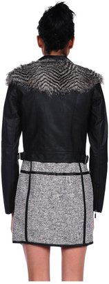 Romeo & Juliet Couture Pleather Jacket with Fur