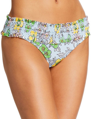 Tory Burch Costa Printed Hipster Smocked Swim Bikini Bottoms