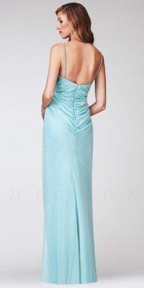 Mignon Jewel-Encrusted Twist-Front Long Evening Dresses