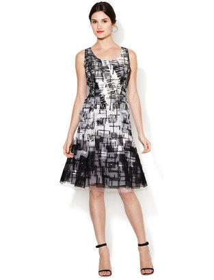 Carolina Herrera Sequin Patchwork Flared Dress