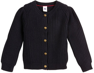 Petit Bateau Girl'S Buttoned Round Neck Cardigan In Wool And Cotton Knit