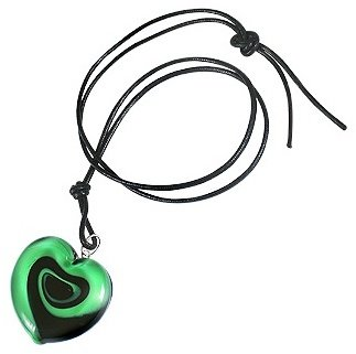 Murano Akuamarina Swirling Heart Glass Necklace