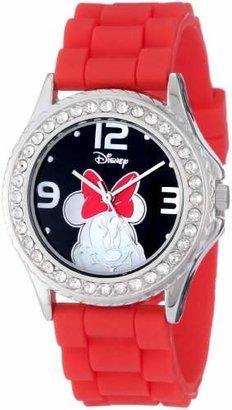 Disney Women's MN1052 Rhinestone Accent Minnie Mouse Rubber Strap Watch