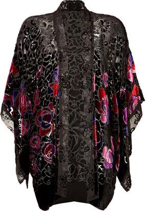 Anna Sui Rose Border Burnout Kimono in Black Multi