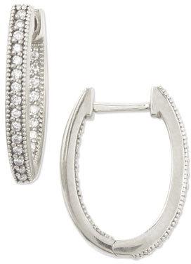 Jude Frances 18k White Gold Oval Pave Diamond Hoop Earrings