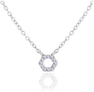 Adina Super Tiny Pave Hexagon Necklace