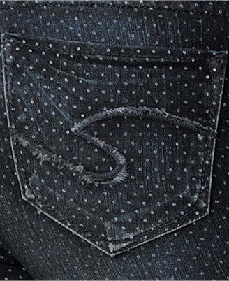 Silver Jeans Juniors Jeans, Suki Super Skinny, Polka-Dot-Print Dark Wash