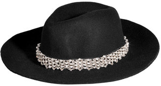 Juicy Couture Black Floppy Wool Crystal Embellished Fedora