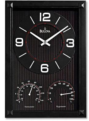 Bulova Black Carbon Fiber Pattern Wall Clock C3732