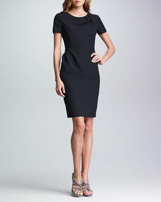 Armani Collezioni Drape-Front Short-Sleeve Dress, Black