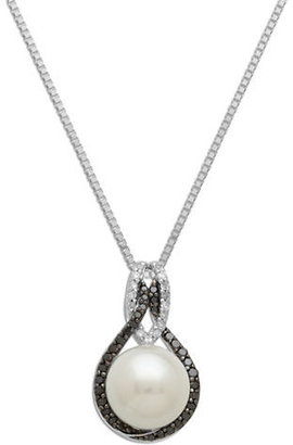Lord & Taylor Sterling Silver Pearl & Black Diamond Pendant Necklace