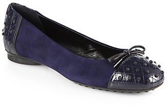 Tod's Dew Quilted Patent Leather & Suede Ballet Flats