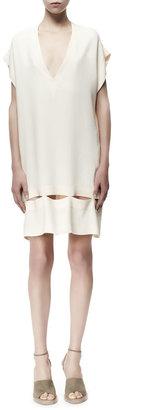 Stella McCartney Zelda Flutter-Sleeve Cutout-Bottom Dress, White
