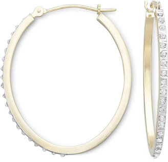 JCPenney FINE JEWELRY Diamond Fascination™ 14K Yellow Gold Oval Hoop Earrings