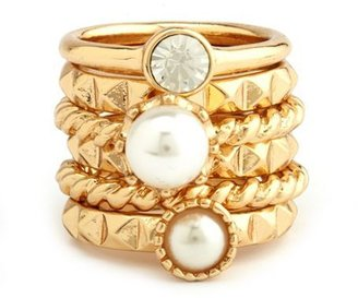 Charlotte Russe Pearls & Pyramids Stackable Ring Set