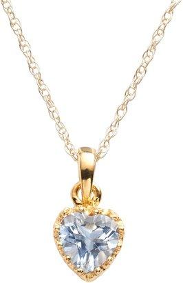 Tiara 14k Gold Over Silver Lab-Created Aquamarine Heart Crown Pendant
