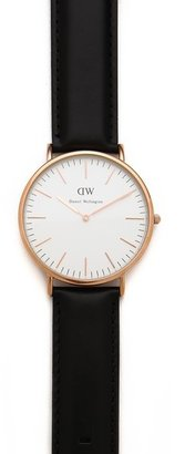 Daniel Wellington Sheffield 40mm Watch with Black Leather Band $229 thestylecure.com