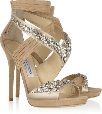 Jimmy Choo Kani Swarovski crystal-embellished satin and suede sandals