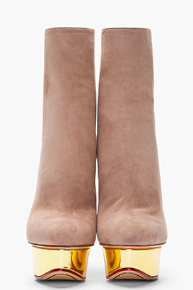Charlotte Olympia Taupe suede platform Lucinda Ankle Boots