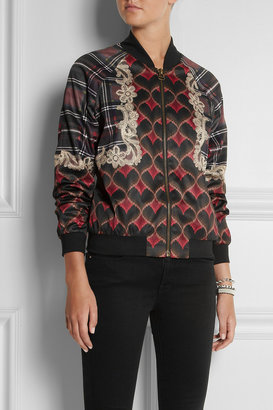 Emma Cook Printed satin bomber jacket