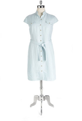 Tahari ARTHUR S. LEVINE Plus Polly Belted Shirtdress