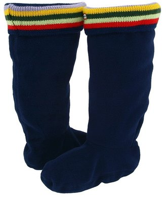 Hunter Striped Cuff Welly Sock (Toddler/Youth) (Navy W/ Striped Sweater Top) - Footwear