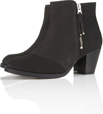 Topshop MIGHTY Black Leather Zip Boots