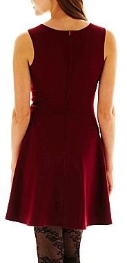 JCPenney Faux-Leather Trim Skater Dress