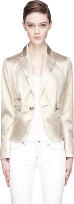 DSquared Dsquared2 Gold Honeycomb Jacquard Silk Maggie Blazer