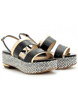Nicholas Kirkwood PATENT LEATHER WEDGES WITH SNAKESKIN