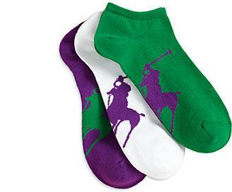 Ralph Lauren Girl's Polo Player Ankle Socks/3-Pack