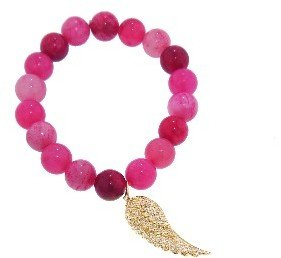Sydney Evan Diamond Wing on Pink Jade - Yellow Gold