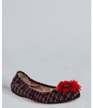 Miu Miu Miu ruby tweed faux fur detail bow flats