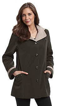 Gallery Faux Silk Swing Coat With Hardware