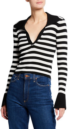 Alice + Olivia Daralee Fitted Long-Sleeve Polo Pullover