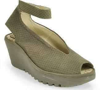 Fly London Yala - Perforated Leather Ankle Strap Peep Toe Wedge in Khaki