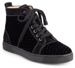 Christian Louboutin Jeweled Velvet & Suede Lace-Up Sneakers