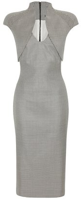 Alexander McQueen Mini-dog Tooth Trompe L'oeil Pencil Dress